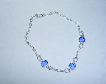 Sterling Silver and Blue Crystal Bracelet  - B1657