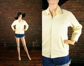 Vintage Spring Jacket 80s Winbreaker Pale Yellow Indie Grandpa Shirt All Weather Rain Coat (XS - S)