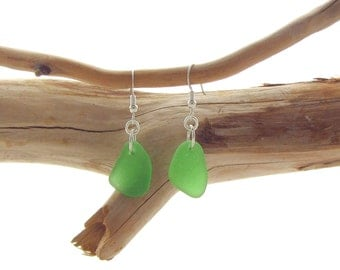 Sterling Silver French Ear Wire with Kelly Green Beach Glass/Sea Glass