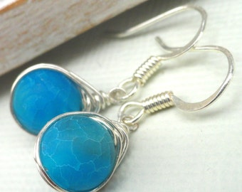 Blue Agate Earrings, Sterling Silver,  Wire Wrapped agate, Agate Jewelry