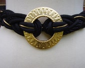 Vintage Belt Black with Gold Disk L / XL