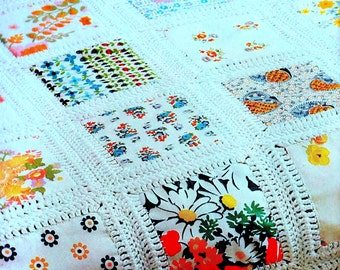 INSTANT DOWNLOAD PDF Vintage Crochet Sewing  Pattern for Patchwork Afghan Pillow  Cushion