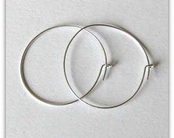 Hoop earwires, wine glass markers, Beverage markers, Hostess markers, Silver plated,  DIY, 25 mm 24 ga 5 pair Item #1050