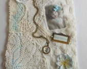Sweet Girl Child Vintage Fabric and Lace Collage, Handstiched Decoration, Wall Decor, Cottage Chic Decoration