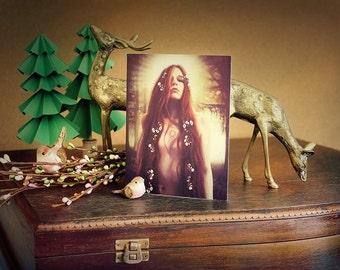 Forest Goddess Art Card | Iseult Goddess Greeting Card Print of Original Fantasy Illustration