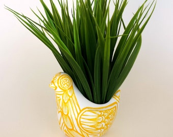 Ceramic Bird Planter Yellow White Painted Folk Art Modern Woodland Vase Home Decor Stripes - Made to Order