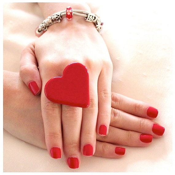 Red Heart Ceramic Ring Mothers Day  - Valentines Day,  adjustable ring, statement ring, cocktail ring - StudioLeanne - 1.75 inch