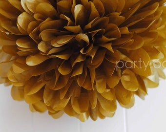 Metallic gold tissue pom pom .. New Years .. Wedding Decoration