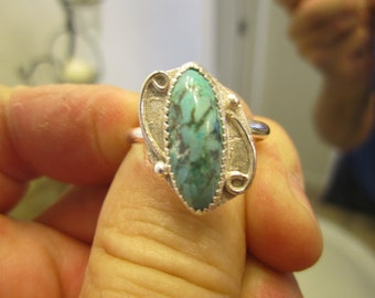 Sterling Silver Turquoise Ring - Size 10 1/2 - FREE RESIZING