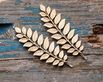 Leaf Branch Bobby Pins, Gold Leaf Bobby Pins, Gold Leaf Hair Pins, Grecian, Woodland Wedding, Bridal Hair, Gold Branch Bobby Pin