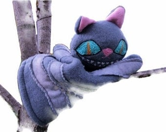 Cheshire Cat- Hand Puppet- Alice in Wonderland - Gray Cat with Big Eyes/Cat Lover Gift