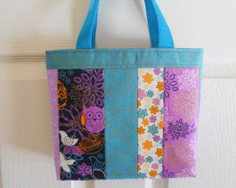 Little Girl's Purse...In Owls and Flowers....Mini Tote Bag...Girls Handbag