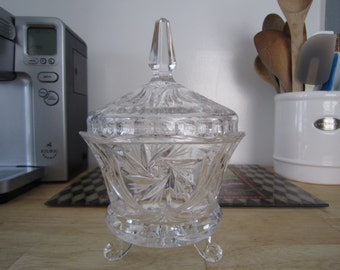 Pinwheel Design Footed Crystal Candy Dish with Lid
