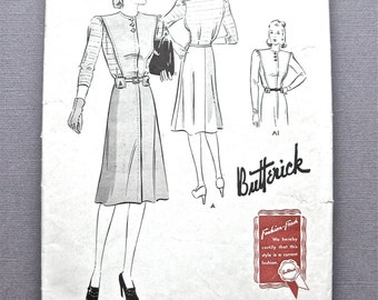 1940s Vintage Butterick 9317 One-Piece Dress Pattern Sewing Pattern  Bust 34