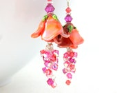 Coral Flower Earrings, Orange Pink Coral Crystal Dangle Earrings, Floral Earrings, Nature Jewelry, Lampwork Glass Earrings - Lisianthus