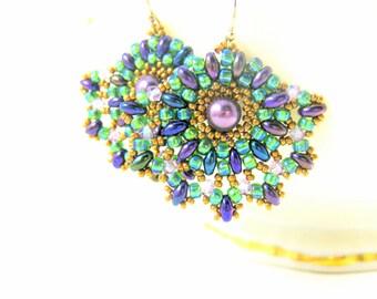 Fan Earrings, Purple Green Gold Earrings, Beadwork Earrings, Beaded Earrings, Beadwoven Earrings, Seed Bead Earrings, Pearl - Bourbon St