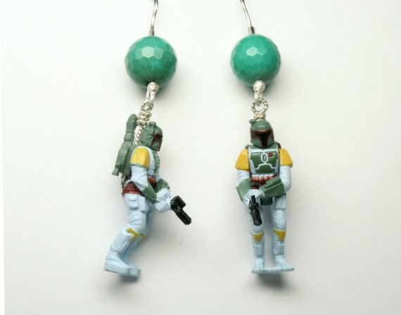 Boba Fett Star Wars Micro Machines Earrings with Sterling Silver and Chrysoprase