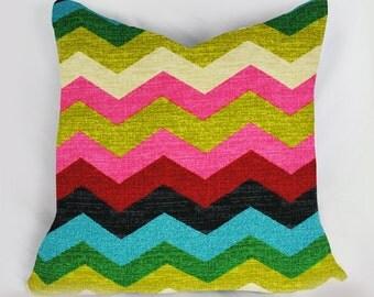 Rainbow Chevron Pillow - Decorative Pillow - Accent Pillow - Kid Pillow - Room Decor