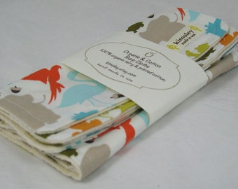 Set of Two - Burp Cloth with Style - Cotton / Organic undyed French Terry Burp - Central Park Zoo
