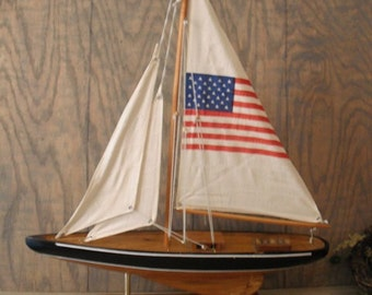 vintage American Flag SAIL boat .. Large Americana Nautical Man Cave Office