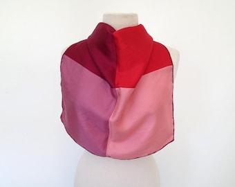 KISSES // red pink crimson violet silk scarf