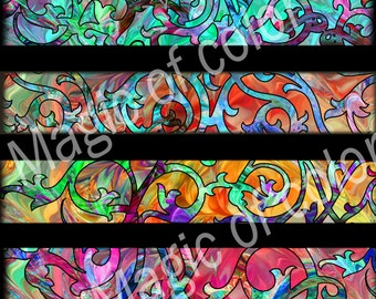 Ornamental Strips - 8 1x6 Inch Rectangular  JPG images - Digital  Collage Sheet