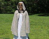 Short Hooded Cloak in White, Blue and Tan Plaid