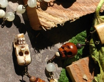 Traditional Skull Rosary with Bone Skulls and  Wood Skulls beaded with Italian Onyx