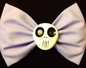 Large lavender skull fabric bow