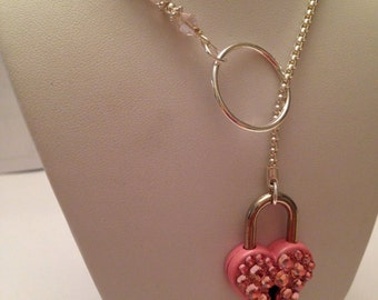 Pink crystal heart lock silver lariat necklace