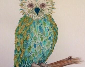 Green botanical leafy owl illustration