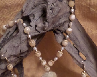 Freshwater Pearls and Yellow Calcite Necklace with Vintage Focal Pendant  FREE SHIPPING