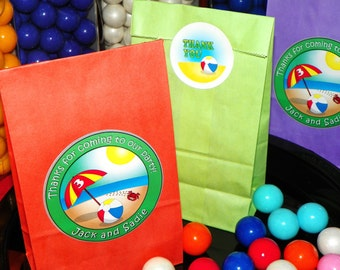 Summer Beach Themed Party Favor Goody Bags w/Sticker Seals. Beach Party Favor Bags. Summer Themed Treat Sacks. Set of TEN. Choose Size