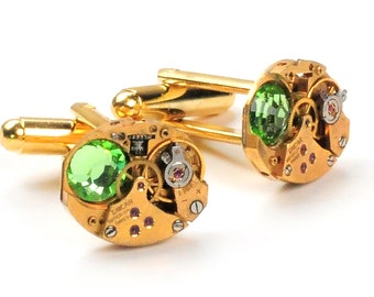 Steampunk Vintage Gold Watch Movement n Crystal Cuff Links