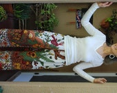 "Hippie Pants- White Tree of Life design -Length 41""  Hips 48"" -"