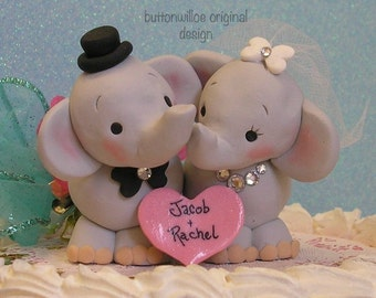 Elephant Wedding Cake Topper with Personalized heart Animal Cake Topper