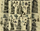 Vintage Illustrations of Victorian Ladies Fashions and Accessories Digital Collage Sheet Large Images Instant Printable Download