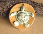 Adorable Handmade Porcelain Baby SEA TURTLE Pendant