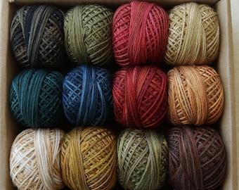 "Three-Strand Floss ""Folk Art Fushion Collection"" Sampler Set Hand Dyed Colorfast"