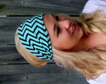 Yoga Running Wide Headband Chevron Stripe Mint Green Black Headband Turband HeadWrap Wide Womens Headband Bohemian Headband or Choose Color
