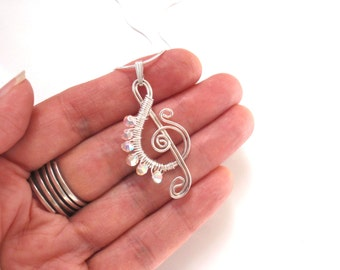 G Clef or Treble Clef Pendant, Jewelry for a Musician