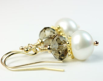 Pearl Drop Earrings with Smoky Quartz Faceted Glass Crystals, Gold Filled hooks dangle pearl sparkly earrings, gift idea for her, by art4ear