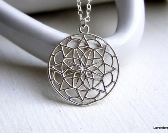 Mandala Necklace , Seed Of Life Charm Necklace , Modern Everyday Jewelry , Sterling Silver  Necklace , Flower Necklace
