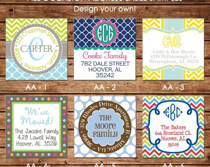 30 Square Personalized All Occasion / Adult / Family Return Address Labels / Stickers - Choose ONE DESIGN