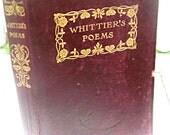 Lovely antique Whittier poetry book, burgundy leather, lovely gift book, Whittier's Poems book, Christmas gift John Greenleaf Whittier book