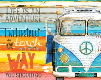 ART PRINT or CANVAS Adventure Vw van print volkswagen bus beach art summer gift christian wisdom quote positive scripture, All Sizes