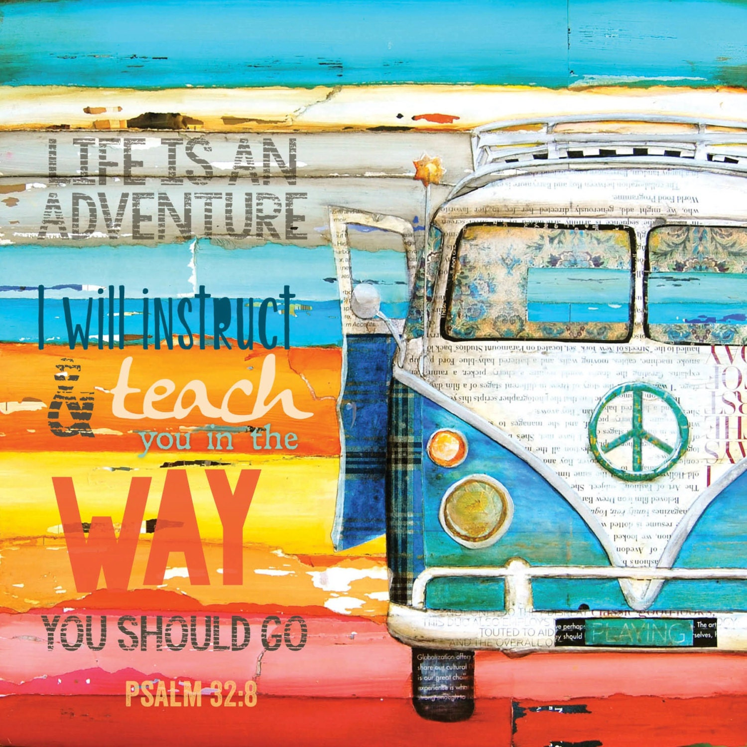 Vw Quote Amusing Art Print Or Canvas Adventure Vw Van Print Volkswagen Bus Beach