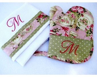 Personalized Embroidered Oven Mitt and Matching Towel Gift