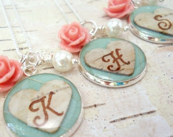 Personalized Bridesmaids Necklace, Mint/ Aqua Bridesmaids Jewelry, Birch Bark Heart Monogram Initial Necklace, Mint Aqua & Pink Coral/ Ivory
