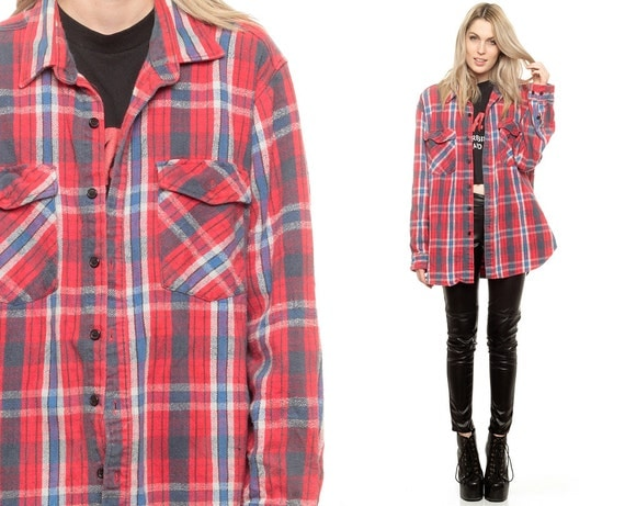 Red plaid shirt grunge oversized flannel shirt navy blue 90s for Women s button down shirts extra long